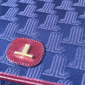 Vintage Navy Lanvin Logo Monogram Crossbody Bag